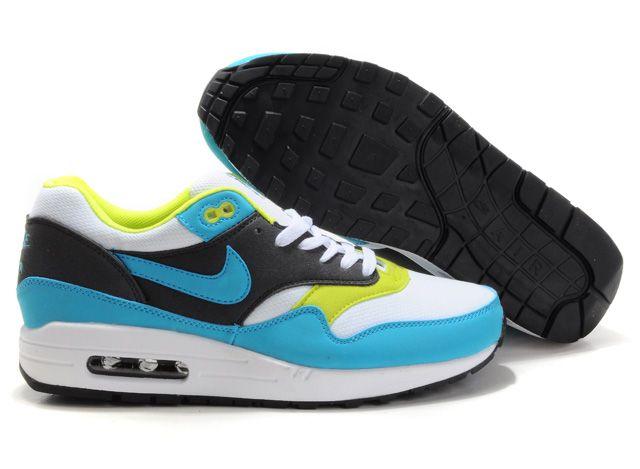 Nike Air Max 87 Mens Black White Teal   Nike air max 87, Nike air ...