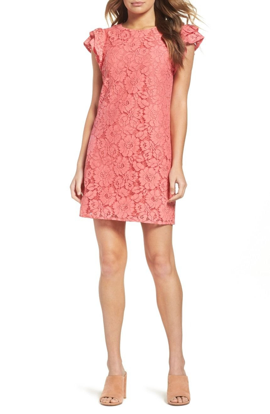 Ruffled cap sleeves up the romantic charm of this candy-colored lace ...