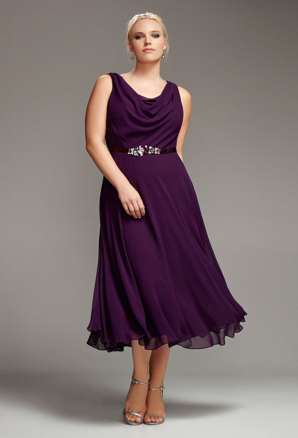 Plum Rhinestone Sash Dress-Plus Size Special Occasion Dress-Avenue ...