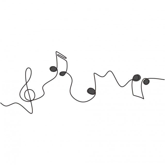 One Line Drawing Of Music Notes Isolated Vector Object Continuous Simplicity Lineart Design Of Sign And Symbols, Line, Music, Continuous PNG and Vector with Transparent Background for Free Download
