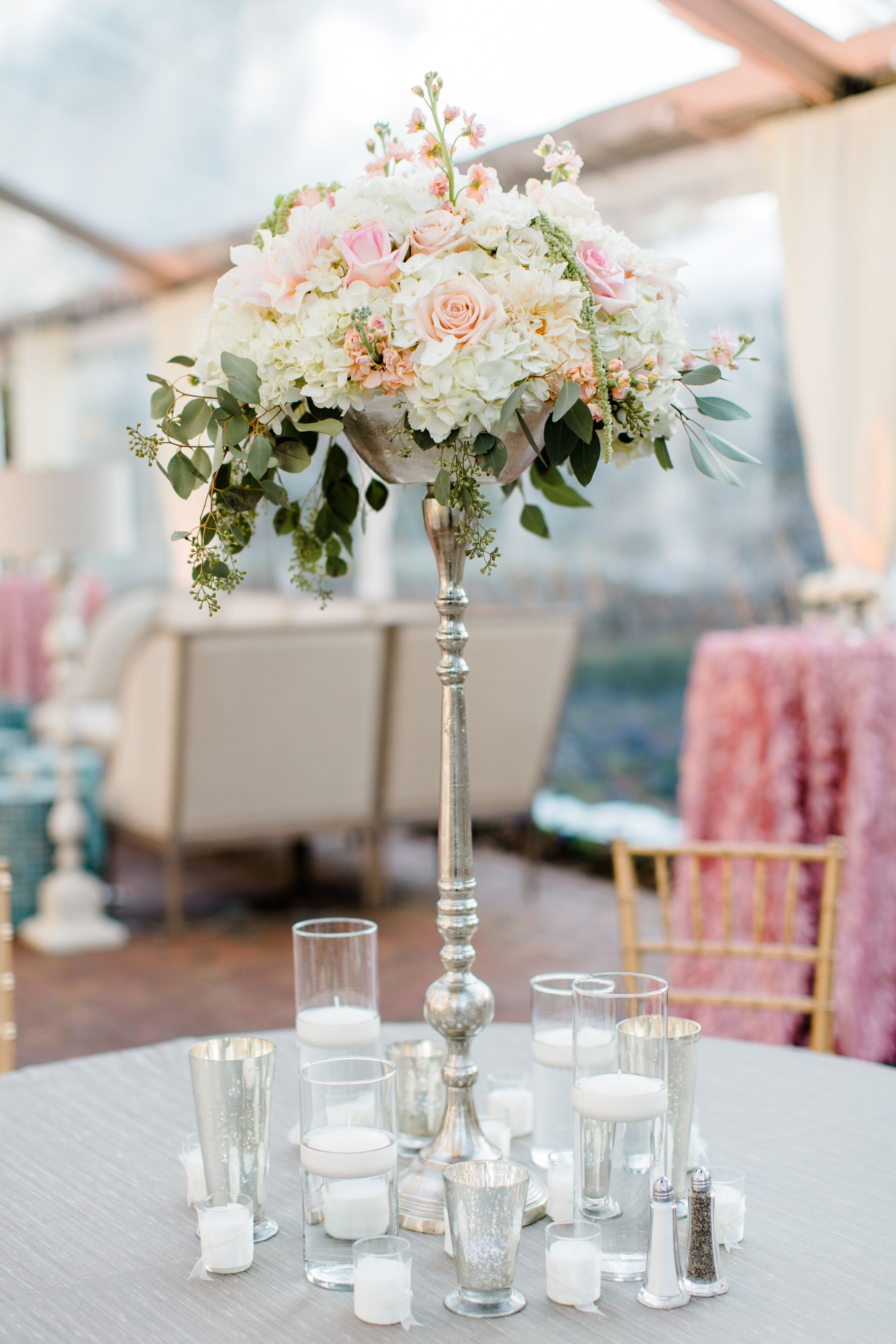 Tall Silver Candelabra Centerpiece with Blush Arrangements