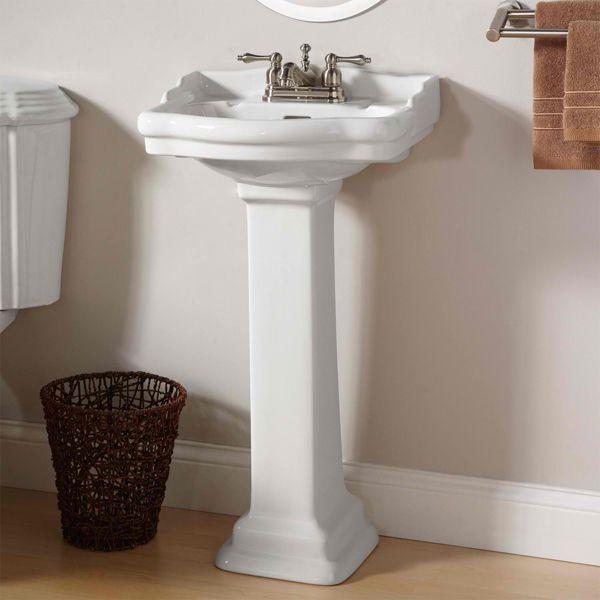 Exquisite Bathroom Pedestal Sink With Creamy Tile Backsplash And