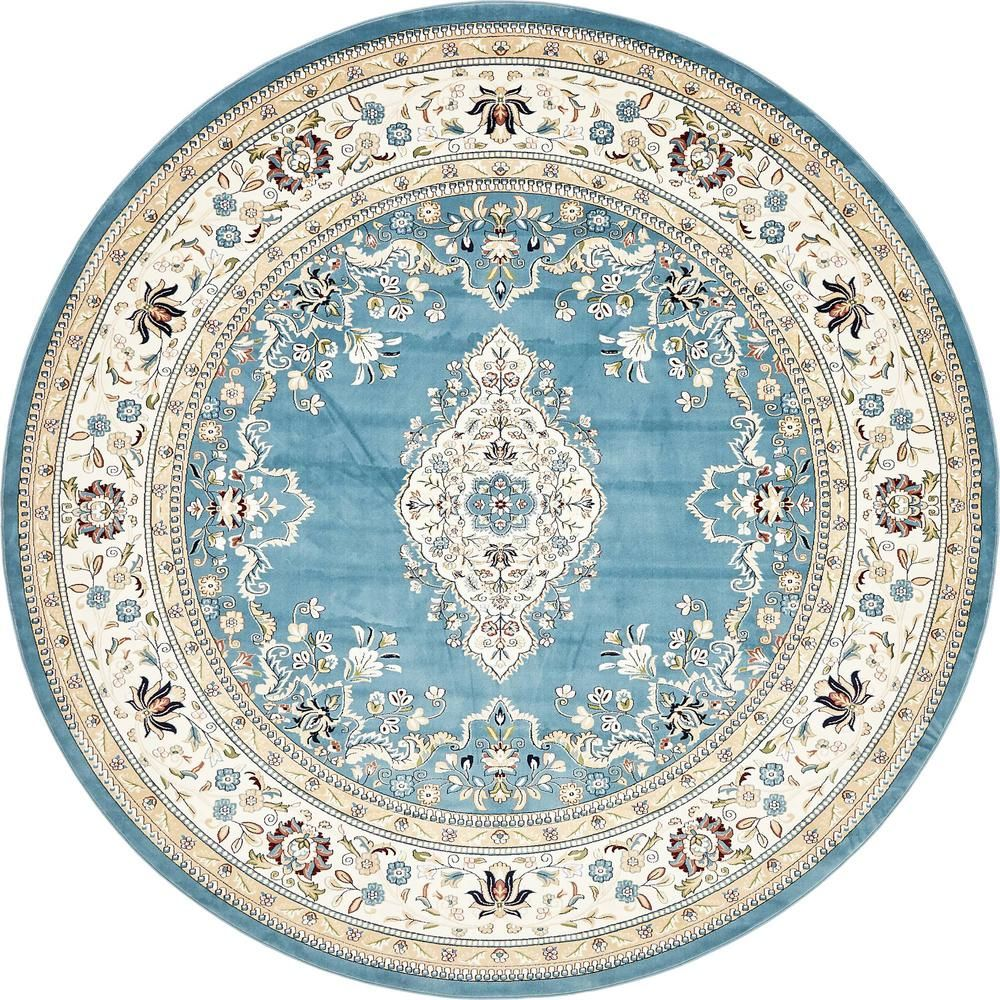 Unique Loom Tabriz Blue 10 Ft X 10 Ft Round Area Rug With Images