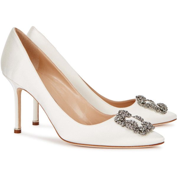 2f1339cb8b3ac Manolo Blahnik Hangisi 90 Ivory Satin Pumps - Size 4 (1 445 510 LBP) ❤  liked on Polyvore featuring shoes, pumps, ivory pumps, heel pump, slip-on  shoes, ...