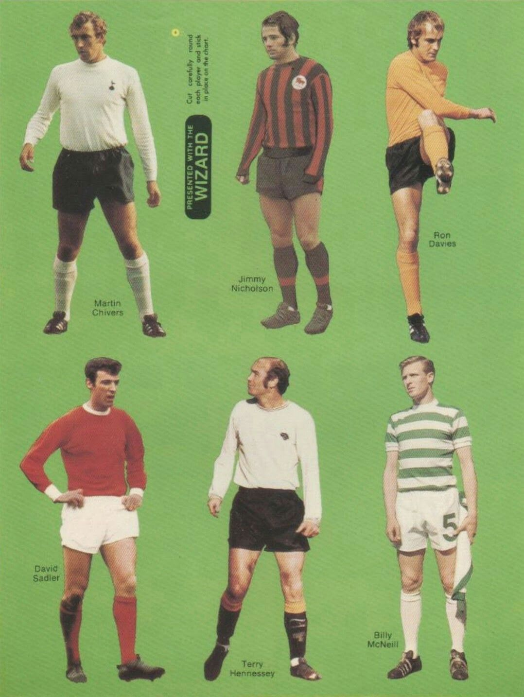 Football player cut outs with Wizard magazine in the early 1970s.
