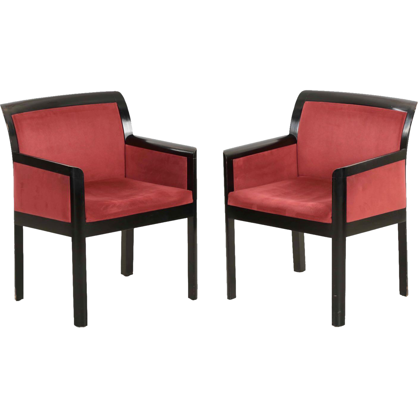 Pair of Modern Black Ebonized Arm Chairs in Art Deco style ...