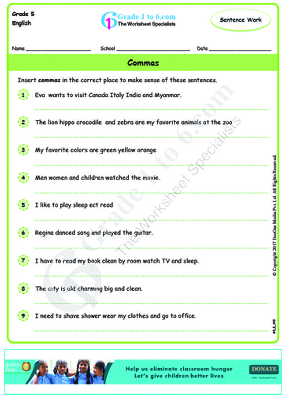 Punctuation commas English worksheet