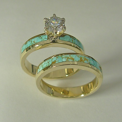 Ladies 14 karat yellow gold wedding set with natural Turquoise ...