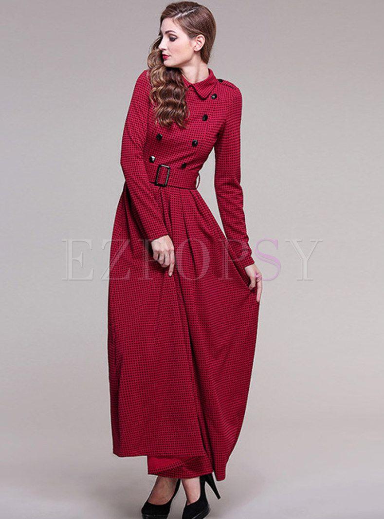 Vintage Turn Down Collar A Line Maxi Dress Dresses Vintage Maxi Dress Maxi Dress