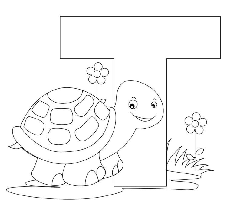 T For Cute Baby Turtle Coloring Pages Turtle Coloring Pages Alphabet Coloring Pages Coloring Pages For Kids