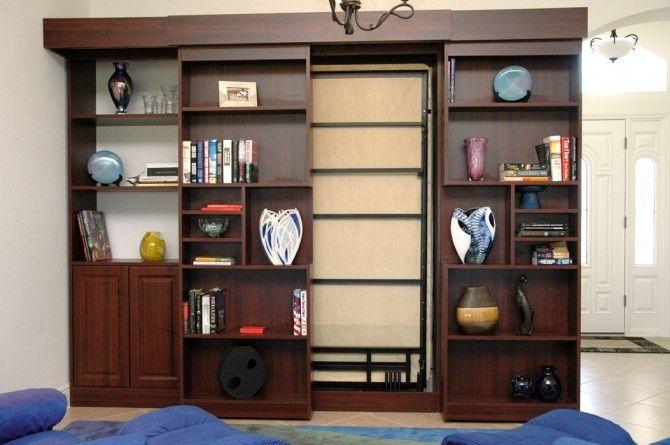 Sliding Doors Secret Bookshelf Hides Murphy Bed Or Hidden Door