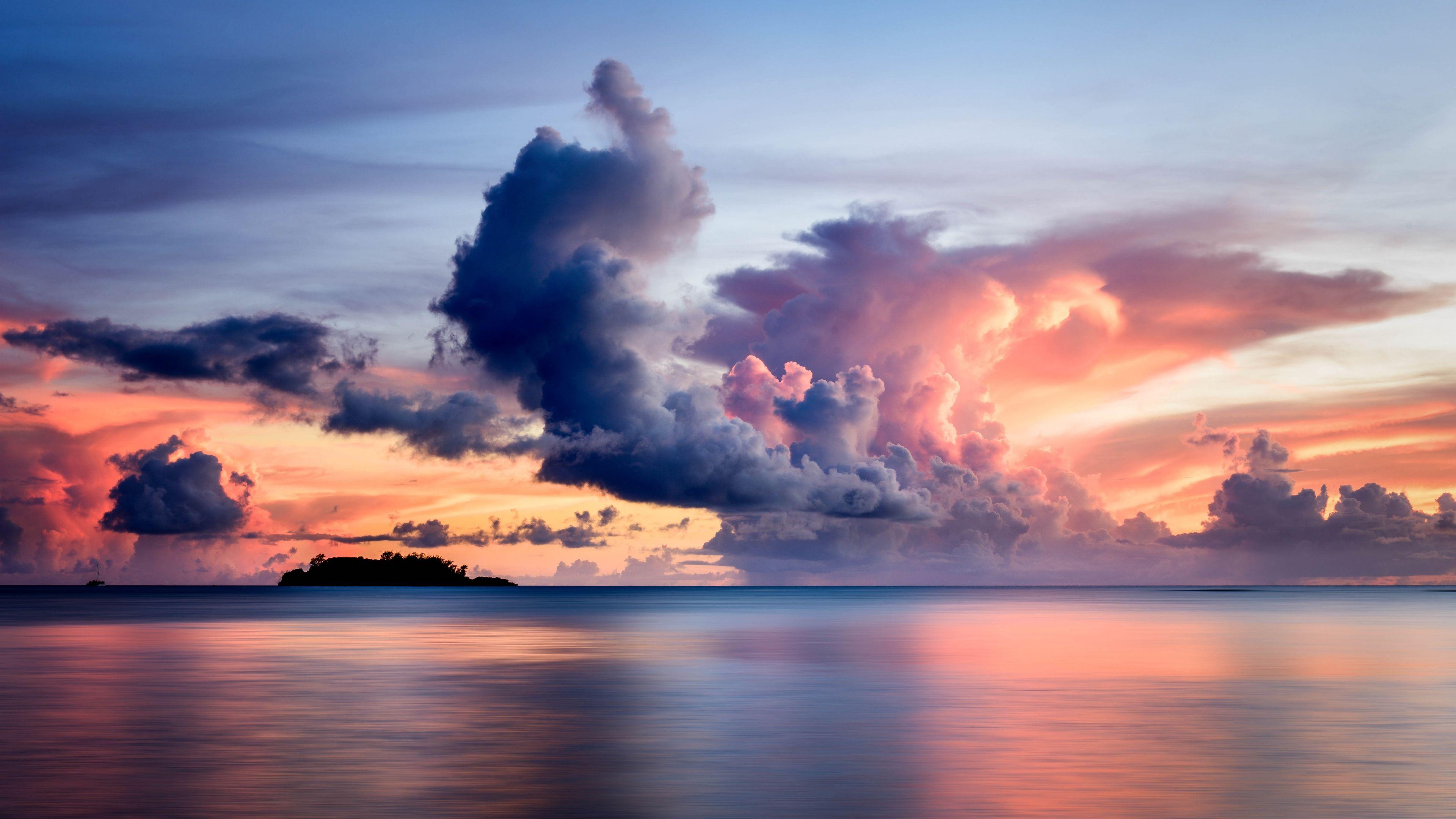 sea, clouds, horizon, island, sky, sunset 4k Sea, Horizon