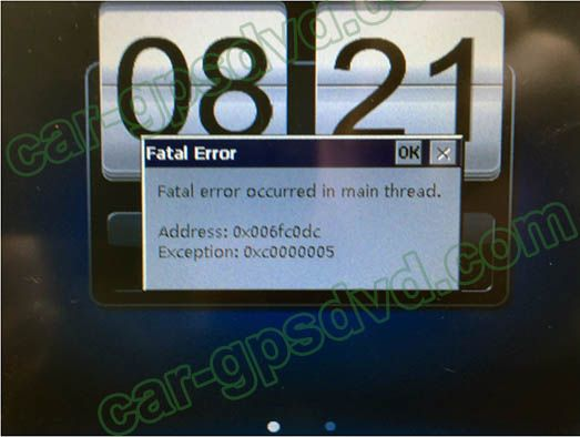Fatal error occurred in main thread, Address:0x006fc0dc, Exception