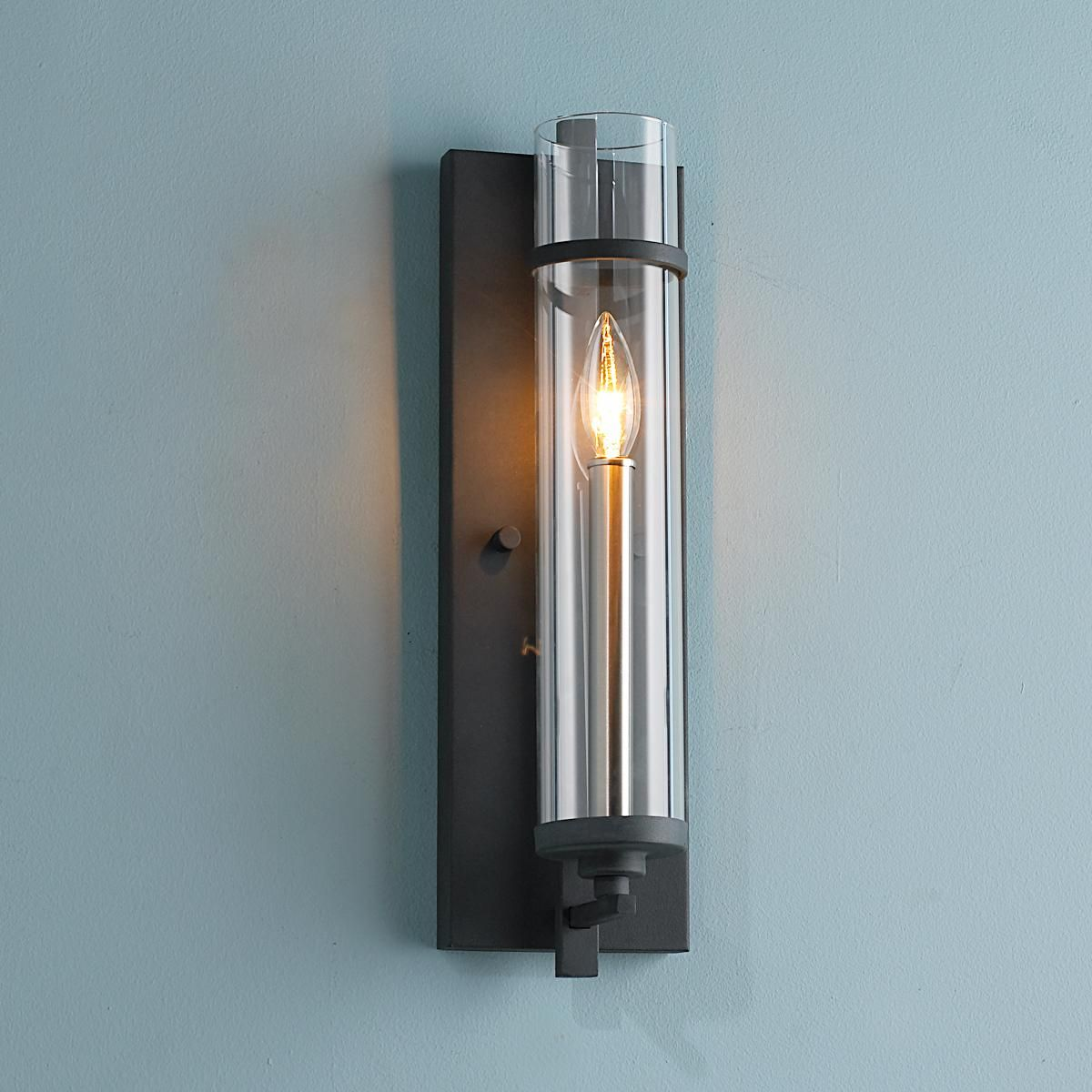 Clearly modern glass tube wall sconce modern glass for Contemporary bathroom wall sconces