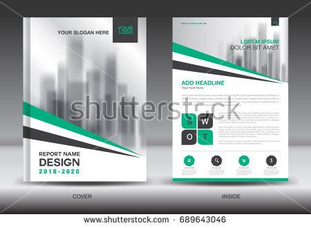 Annual report brochure flyer template, Green cover design - advertisement brochure
