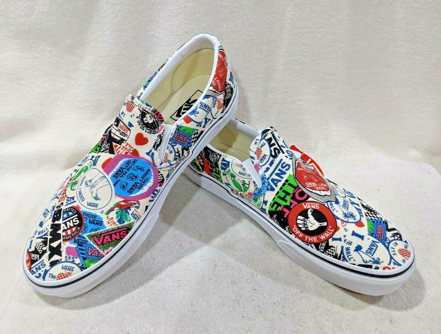 Vans Unisex Classic Mash Up Stickers Multicolor Slip On Shoes Assorted Sizes Nwb In 2020 Slip On Shoes Vans Shoes For Sale On Shoes