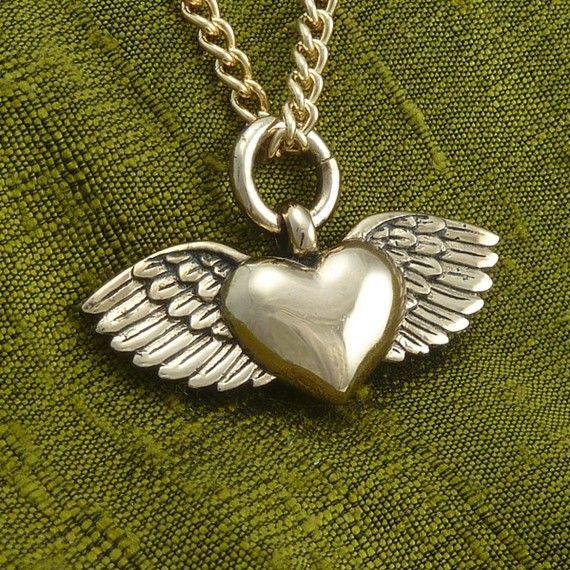 Winged heart necklace bronze flying heart pendant on 24 gold plated winged heart necklace bronze flying heart pendant on 24 gold plated chain valentines day aloadofball Gallery