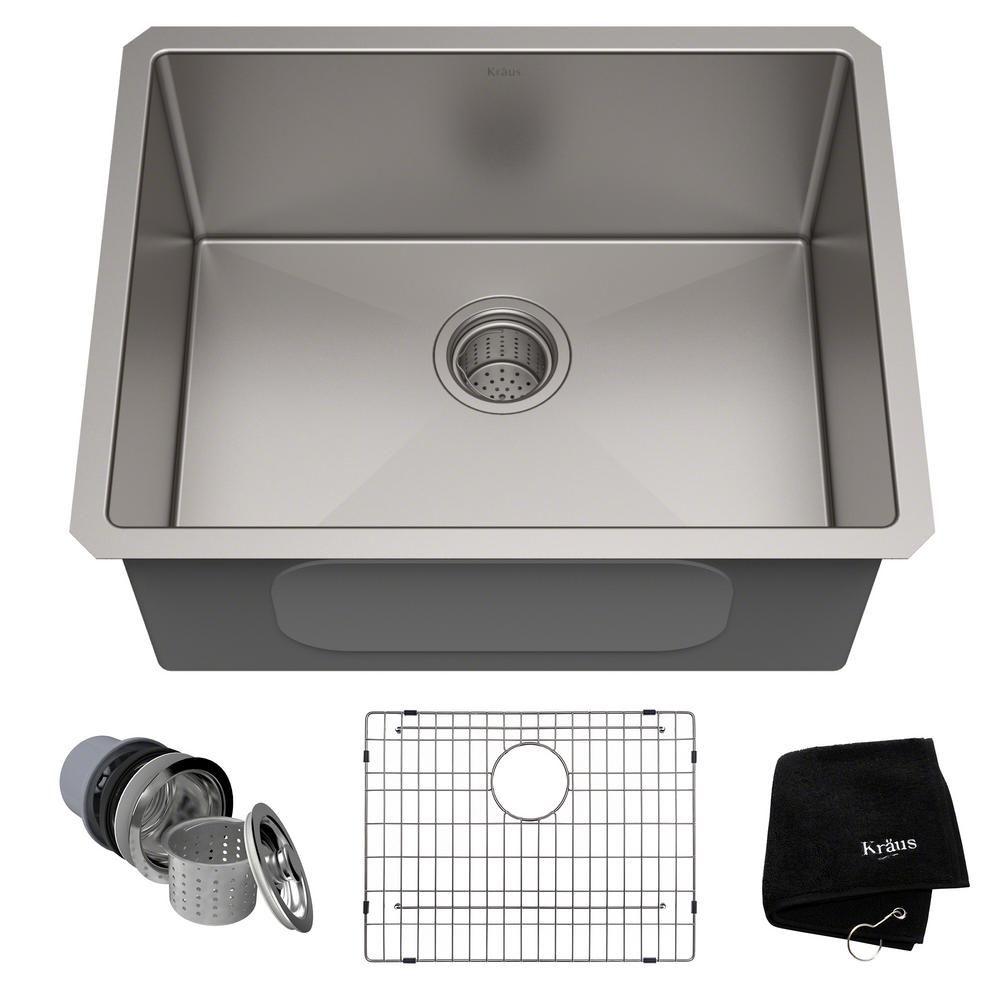Kraus Standart Pro 23in 16 Gauge Undermount Single Bowl Stainless Steel Kitchen Sink Silver Sink Single Bowl Kitchen Sink Stainless Steel Kitchen