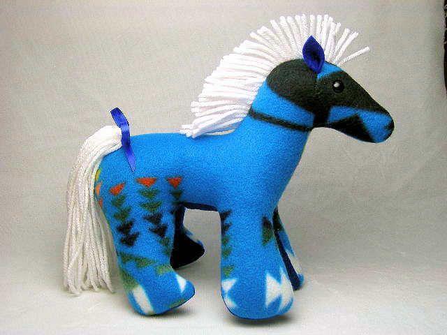 Handmade Pendleton Blue Horse Stuffed Animal Navajo Artist Free Us