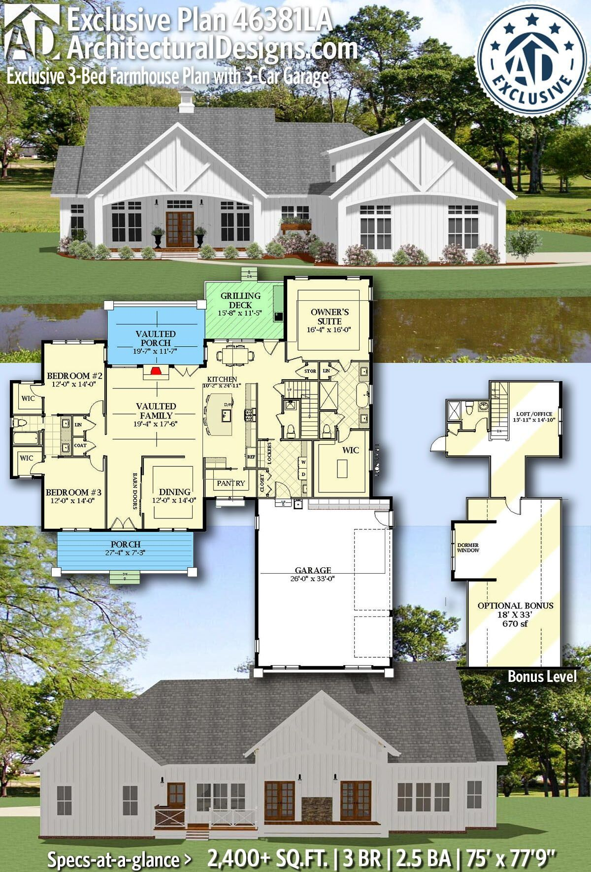 Plan 46381la Exclusive 3 Bed Farmhouse Plan For Country Living At Its Finest In 2020 Farmhouse Plans House Plans Farmhouse Craftsman House Plans