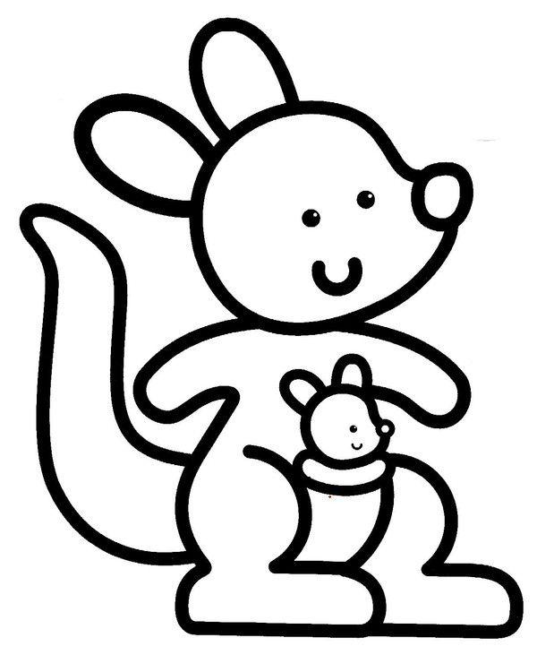 Coloriage Enfant 2 A 3 Ans Kangourou Coloriage Animaux Coloriage Enfant Coloriage
