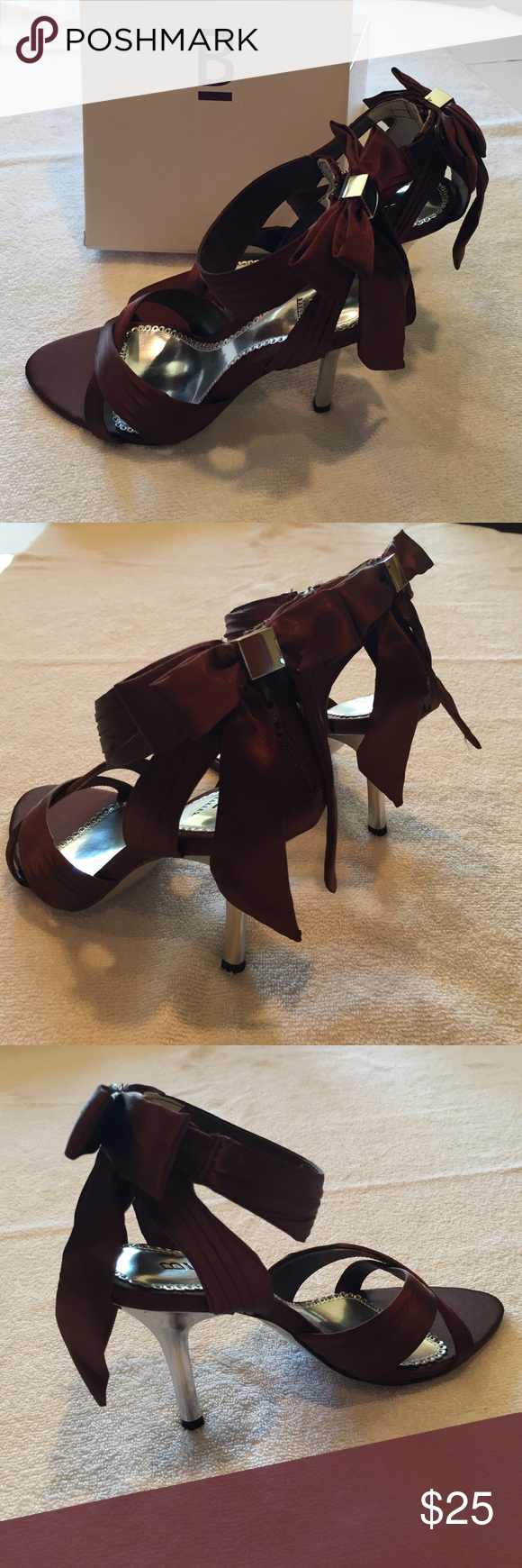 """Bakers High Heels Brown satiny 4"""" Heels. Zipper and snap back closure hidden by a bow. Silver heel. Never worn. Bakers Shoes Heels"""