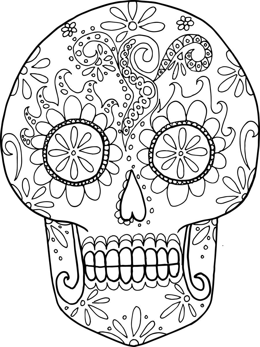 Coloring Adult Day Dead Mexican Festival Stock Vector (Royalty ... | 1201x900