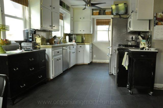New Linoleum Floor In Charcoal Gray Organizingmadefun