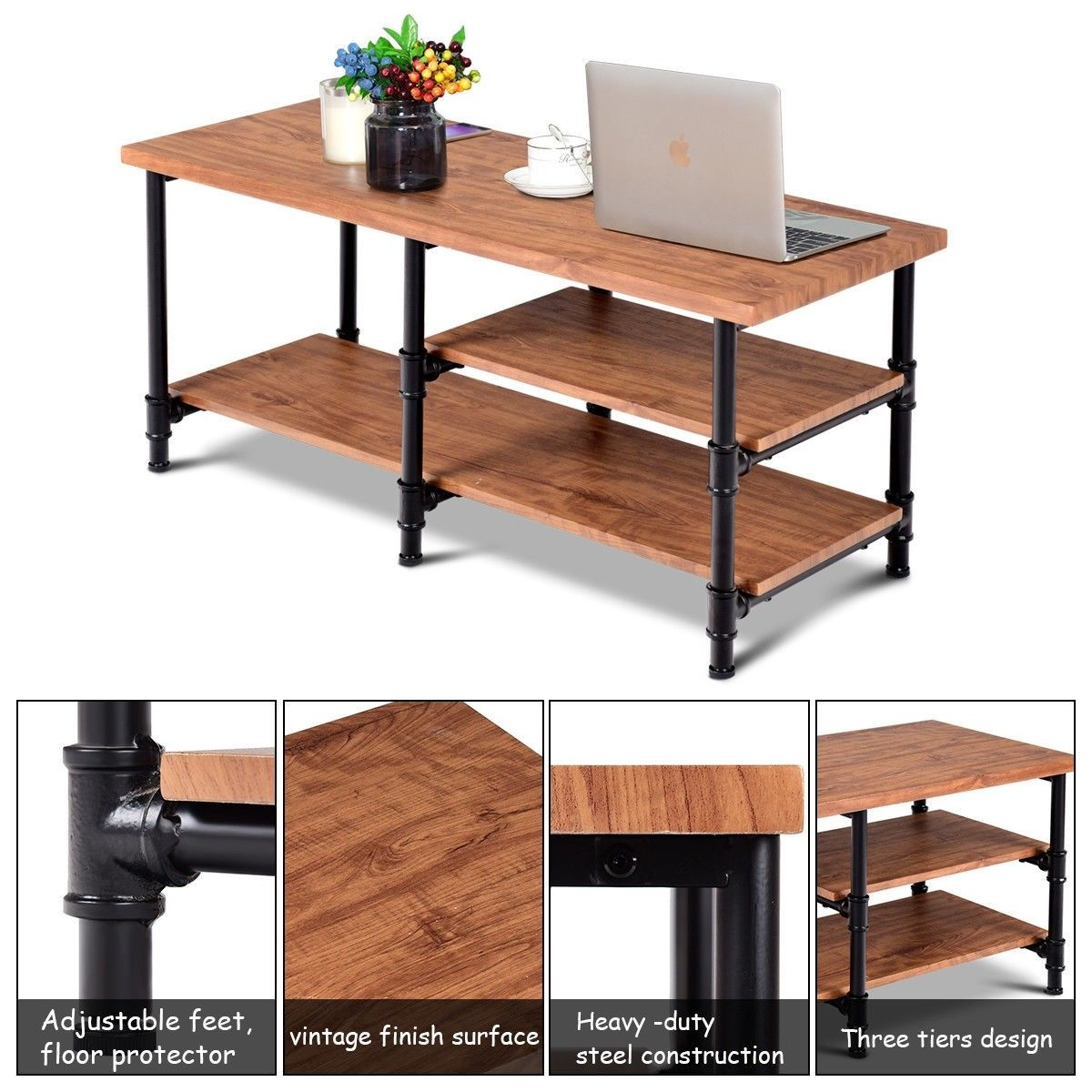 3 Tier Metal Frame Coffee Table With Storage Shelves Coffee Table Wood Coffee Table With Storage Coffee Table Metal Frame