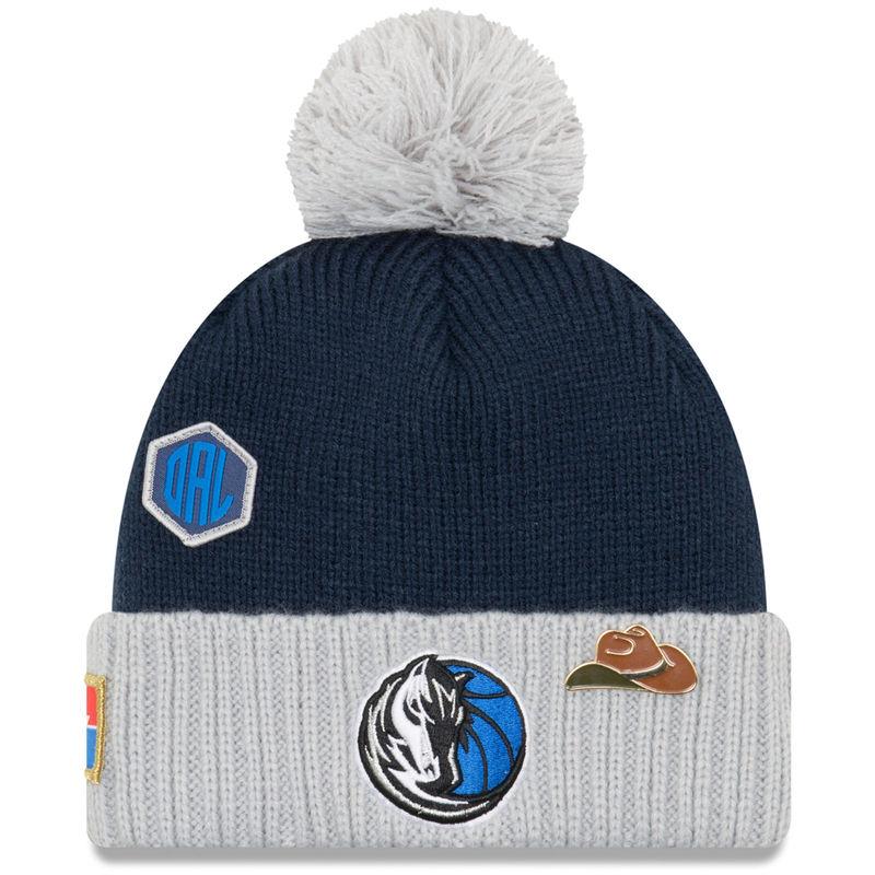7bc229f224e Dallas Mavericks New Era Youth 2018 Draft Cuffed Knit Hat With Pom – Navy