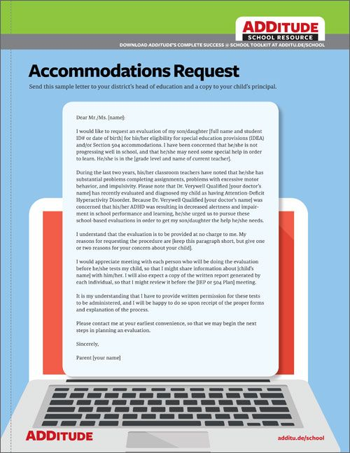 Download FREE Sample Accommodations Request Letter. Rquesting an IEP evaluation and learn how to create one for your child