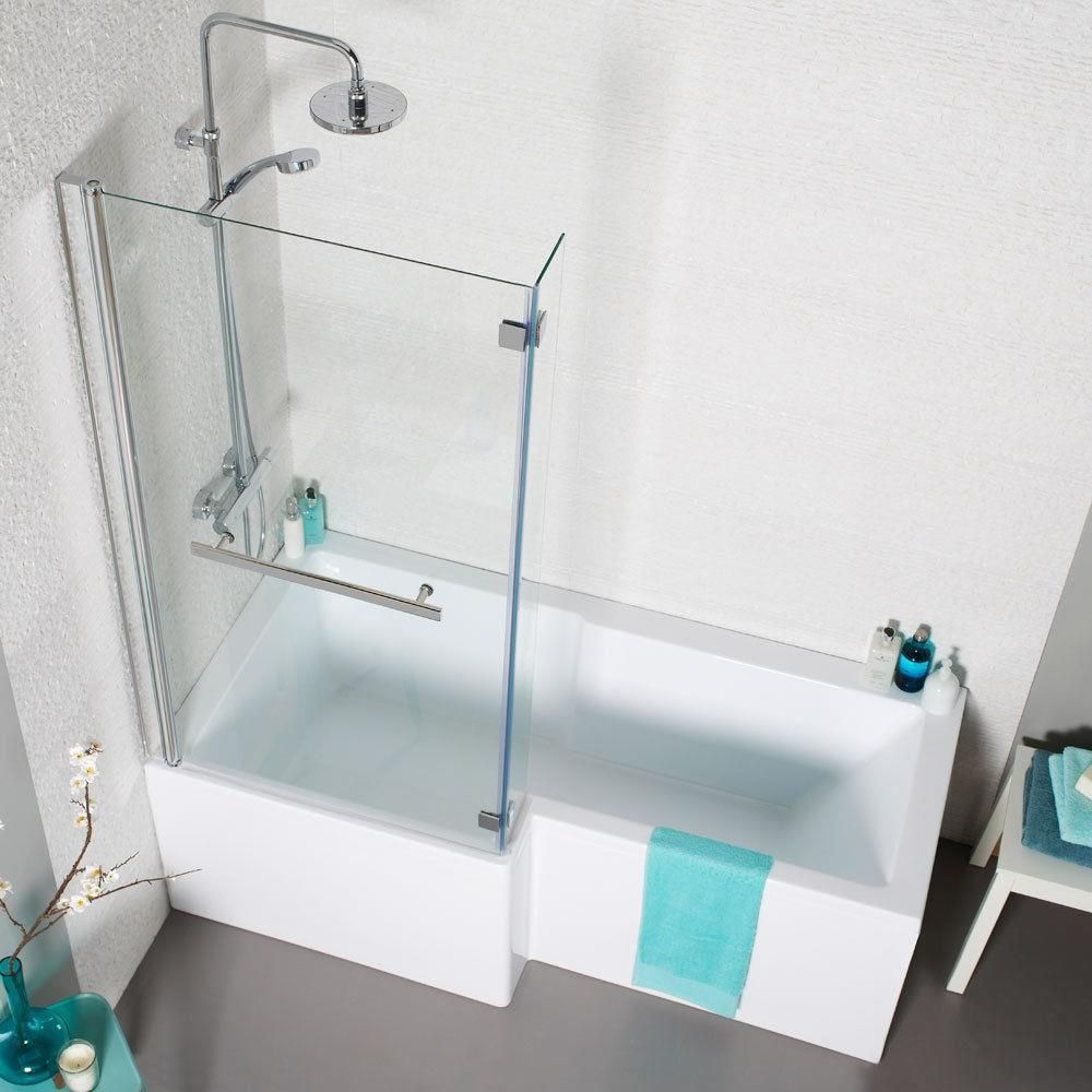 L Shaped Shower Bath Glass Shower Screen & Towel Rail Left & Right ...