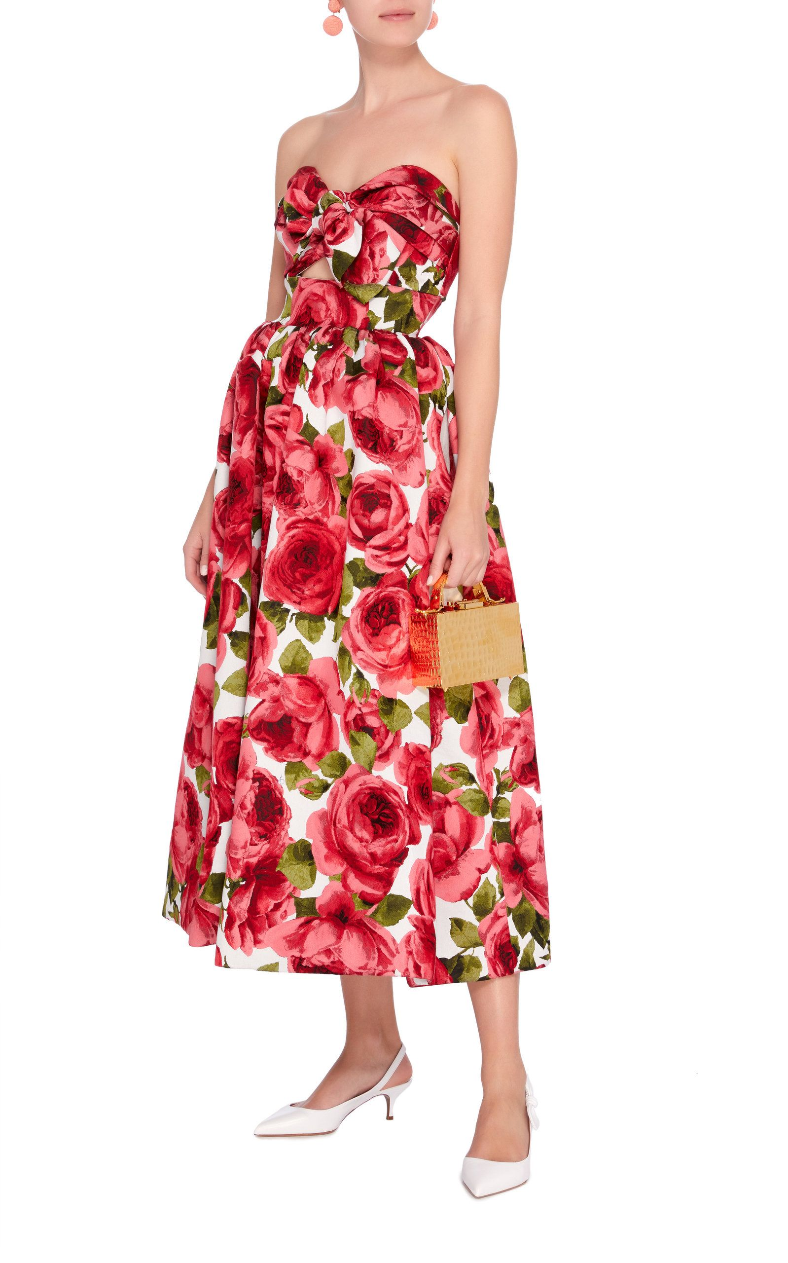 2a908eaae95d Strapless Floral-Print Jacquard Midi Dress in 2019 | Dolce and ...