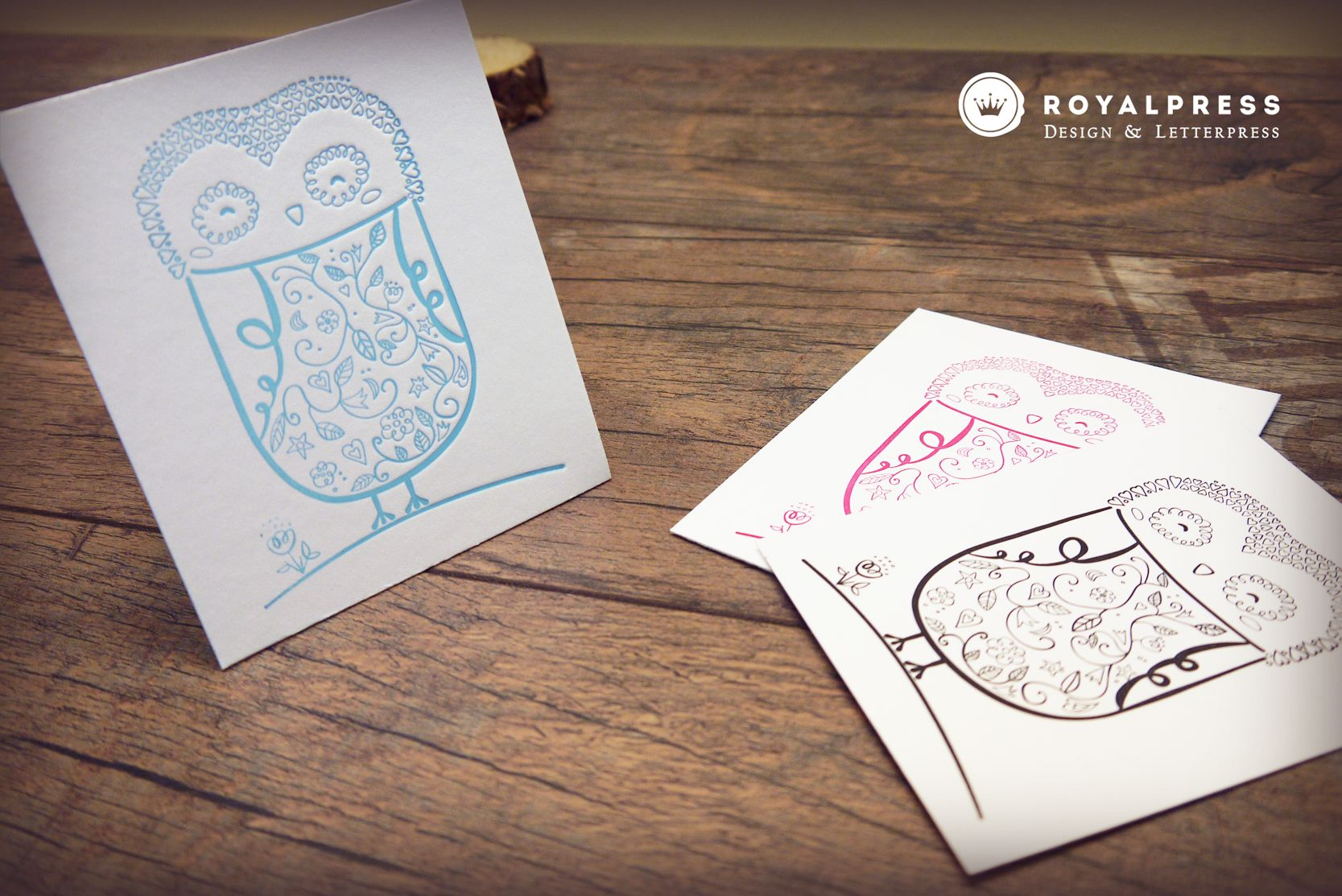 letterpress cards owl