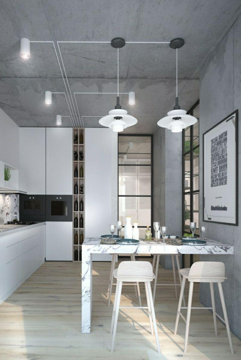 Aus ideen für die küche betonwand bringt industriellen schick im interieur  stilvolle