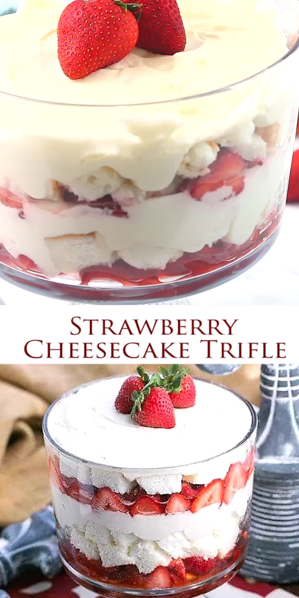 Strawberry Cheesecake Trifle -  With angel food cake,  luscious berries and cream cheese filling! #trifledesserts