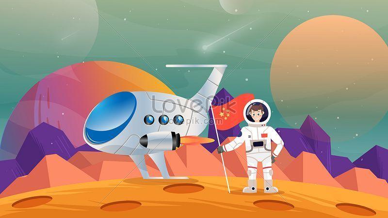 الكرتون الفضاء الخارجي رائد فضاء تكنولوجيا التوضيح Design Elements Outer Space Illustration