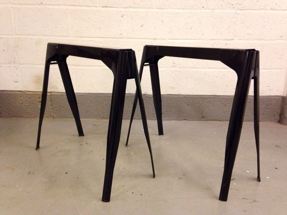 **STUNNING** Tolix Metal Industrial Table Black French Trestle Legs Dining