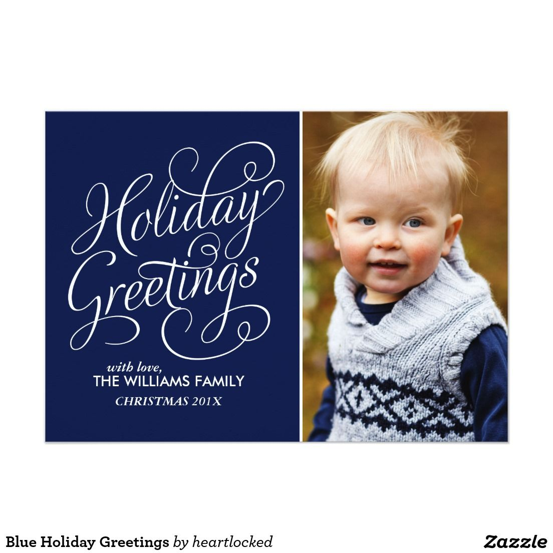 Blue Holiday Greetings Card Christmas And Holiday Photo Cards