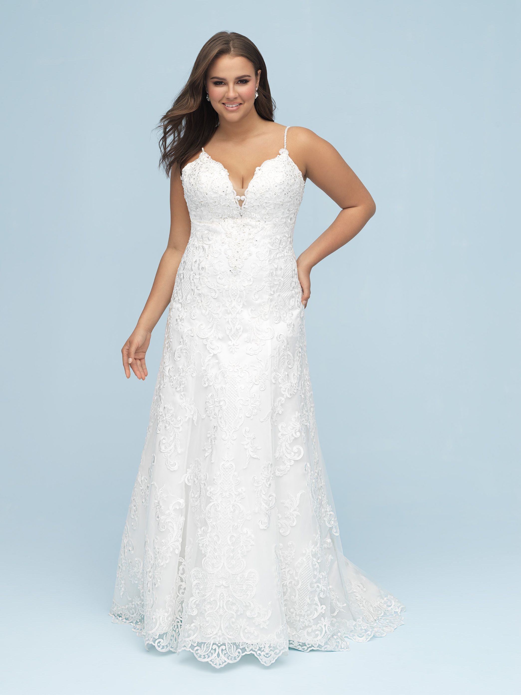 Plus Size Wedding Dress Sample Size 18 Inventory 2664 Dress Available At Bride To Be Co Allure Bridal Allure Bridal Gowns Lace Affordable Wedding Dresses