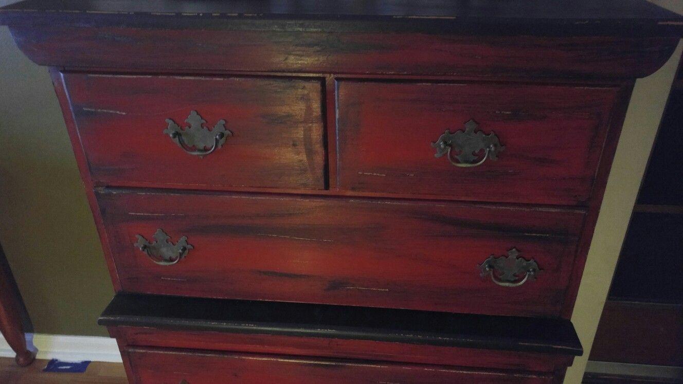 After Red N Black Distressed Dresser Black Distressed Dresser Distressed Dresser Dresser [ 747 x 1328 Pixel ]