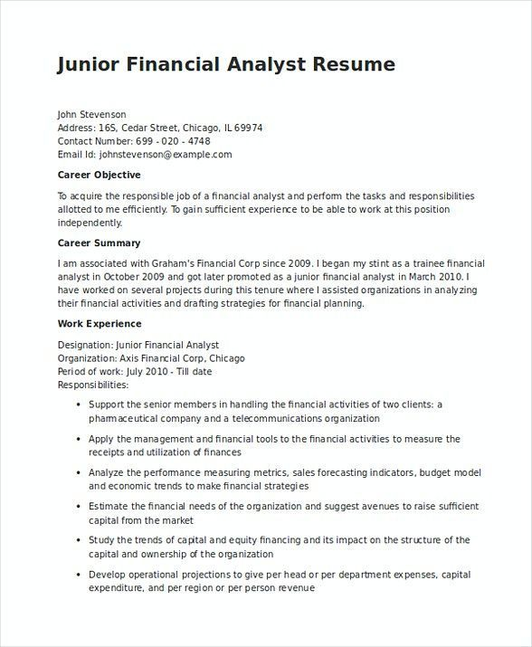 Junior Financial Analyst Resume In Word Are You Searching For Summary Take A Look At The Report Below