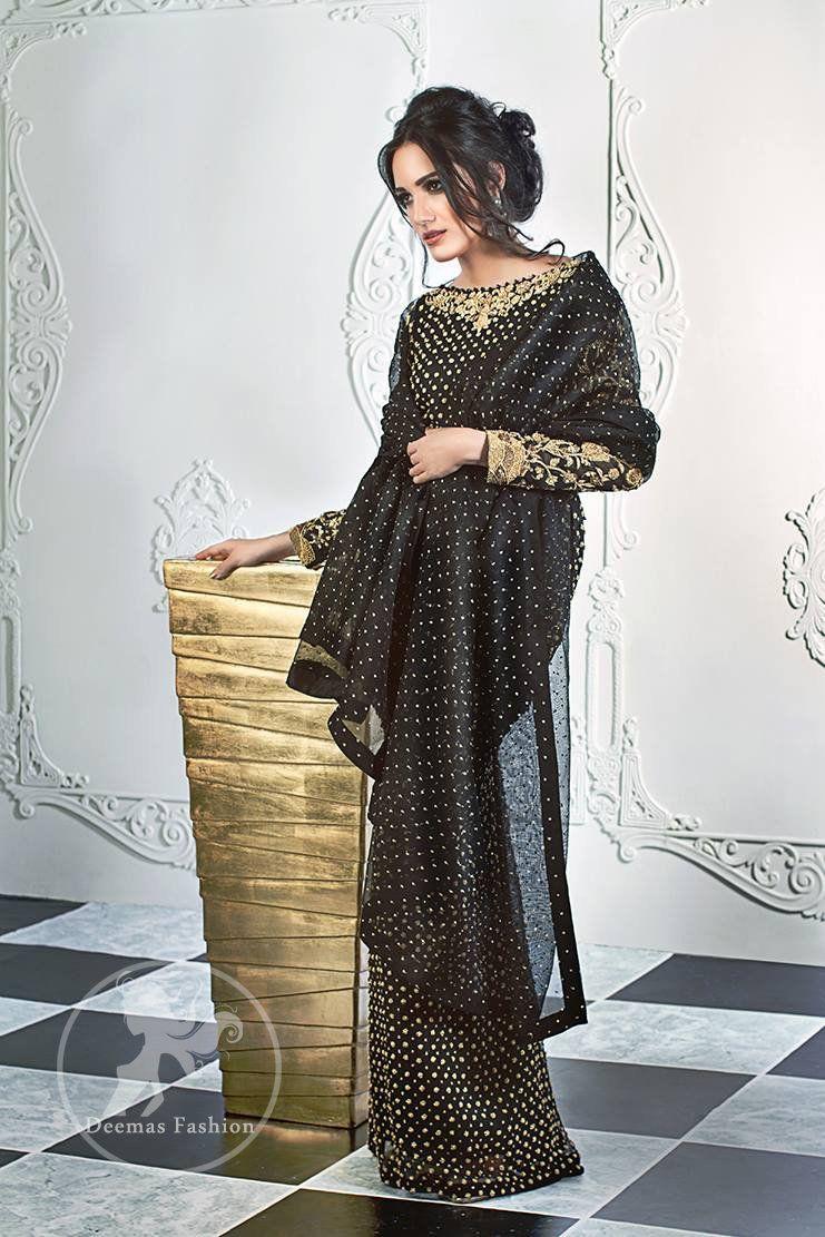 c3253db2588df2 Stylish Black Party Wear Short Shirt - Palazzo Pants - Jamawar Dupatta