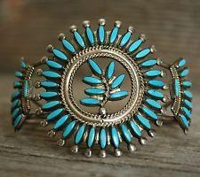 Vintage Zuni Needle Point Turquoise Sterling Silver Cuff Bracelet Floyd Etsate