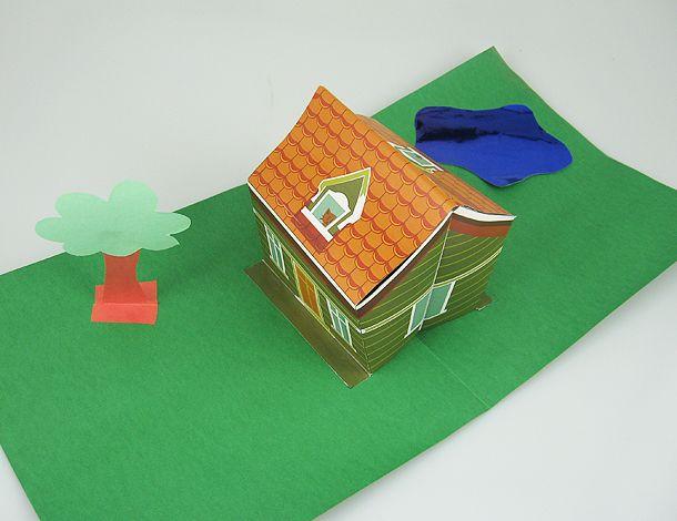 3D house Pop Up Card - UOL Children - Free Template http://criancas.uol.com.br/album/passoapasso_casinha_popup_album.jhtm