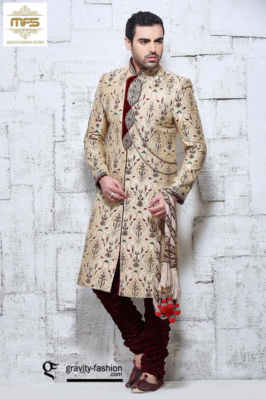 b912a82c38b Cream jodhpuri style Indo-western wedding sherwani in banarasi silk J15293