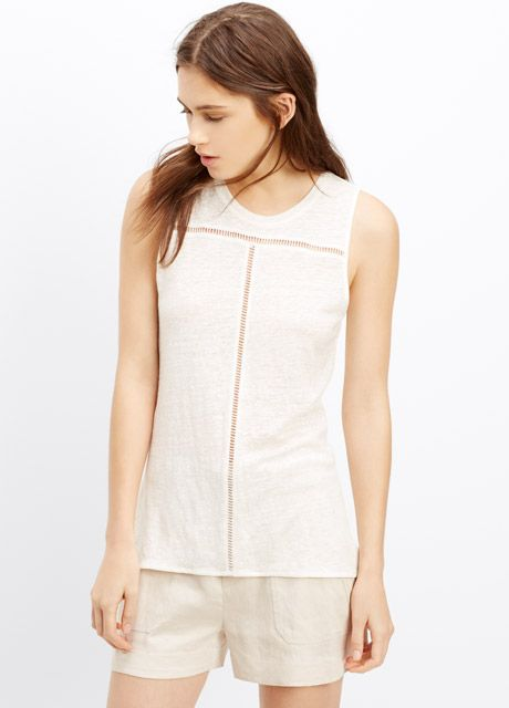 6878992f5a Linen Tank With Inset Lace