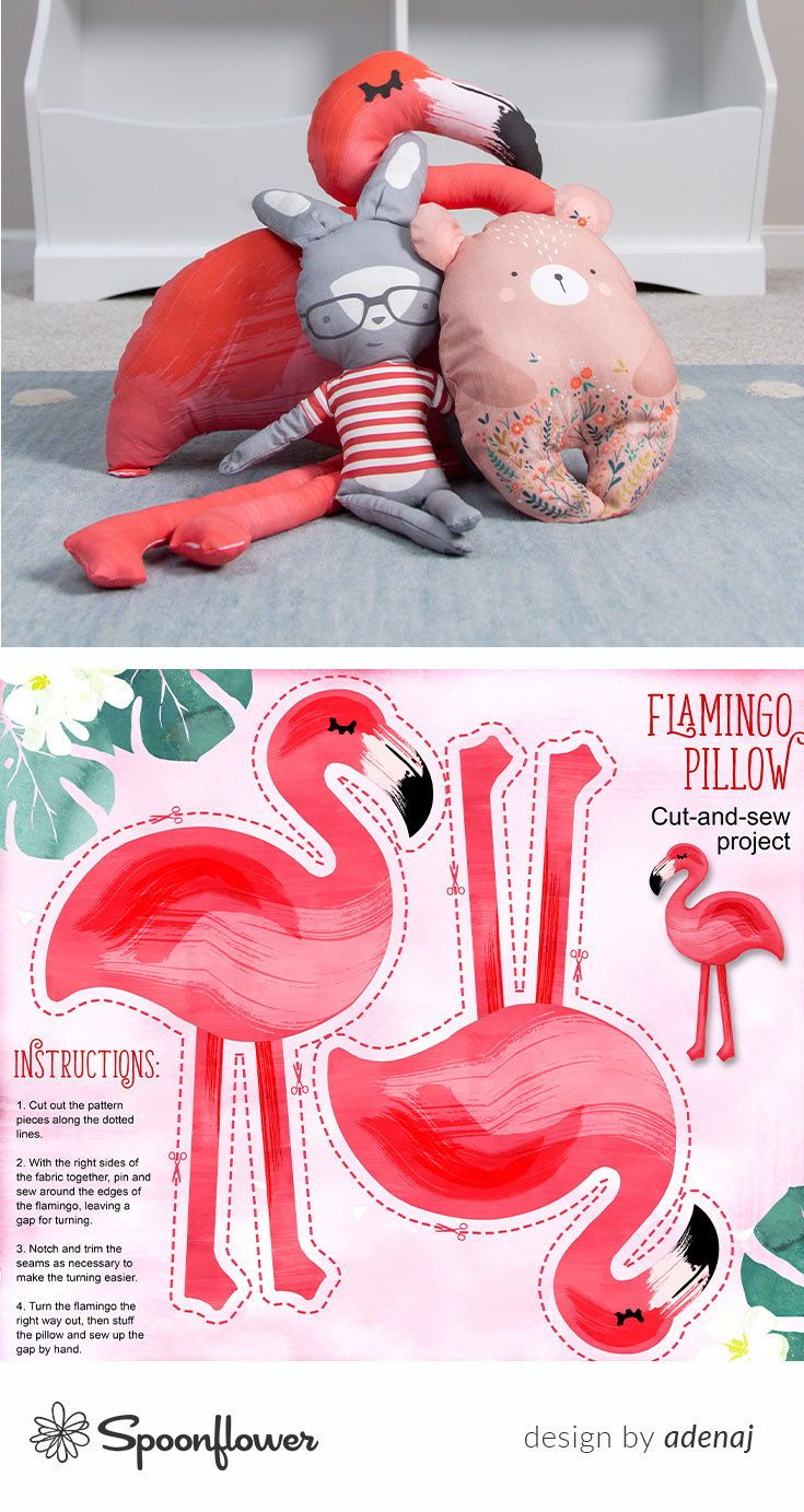 Colorful fabrics digitally printed by Spoonflower - Flamingo pillow yard