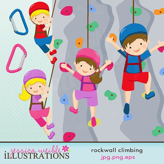 Rock Wall Climbing Girls Cute Digital Clipart mercial Use OK