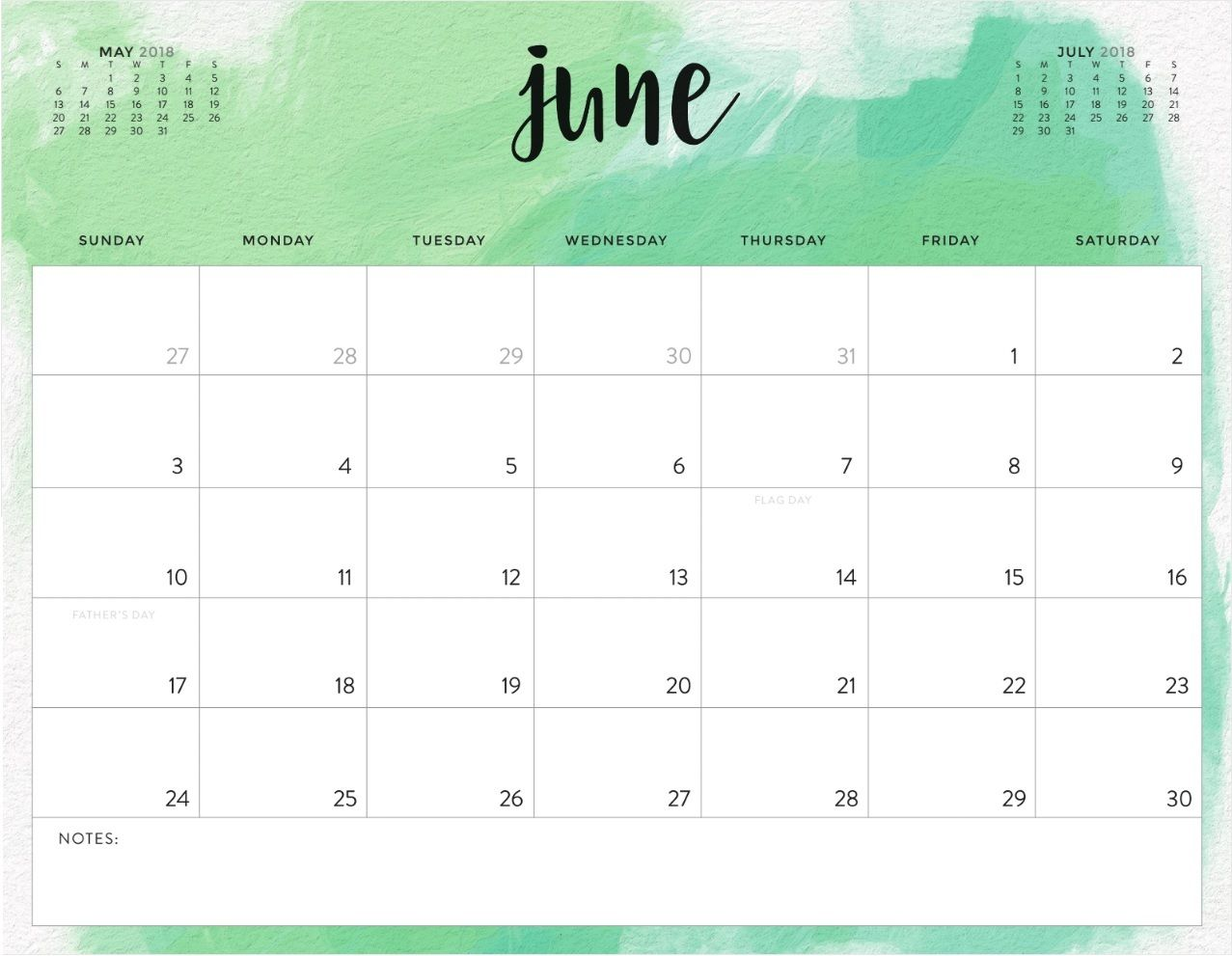 watercolor june 2018 calendar template